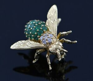 1.5 Ct Emerald & Sim Diamond Bee pins & brooches 14K Yellow Gold Plated Silver