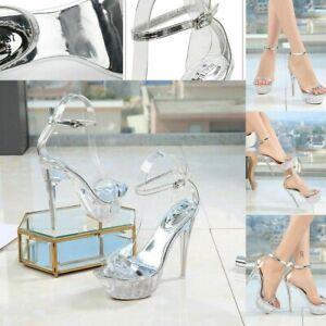 Women Summer Platform High Heels Strappy Sandals Shoes Stripper Lady Pole Dance