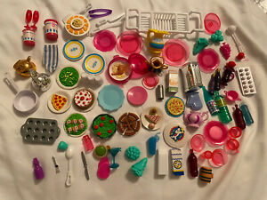 Barbie lot of kitchen accessories and food plates drinks
