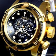 Invicta Reserve Bolt Zeus 51mm Gold Plated Black Carbon Fiber Chrono Watch New