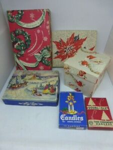 Lot of 6 Vintage Christmas Empty Boxes Greeting Cards Hangers Great Graphics!