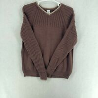 Columbia Mens Pullover Sweater Brown V Neck Long Sleeve XL