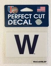 "Chicago Cubs 4"" x 4"" Win Flag ""W"" Truck Car Auto Window Die Cut Decal Team Color"