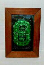 Vtg Heineken Lager Beer Sign Green Foil Art w/Wood Frame