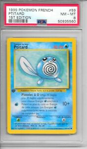 Pokemon PSA 8 NM-MT FRENCH 1999 1st Edition Base Set Ptitard  (Poliwag) #59  NEW