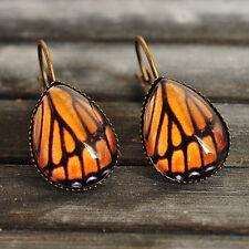 Monarch butterfly wing earrings handmade dangle teardrop antique brass earrings