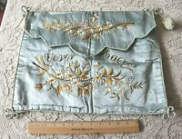 """Antique c1880 Hand Embroidered Floral On Silk Blue Lingerie Case~L-14""""X W-17"""""""