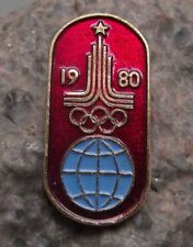 1980 Moscow Russian Olympic Games Official Motif Rings Blue Globe Pin Badge