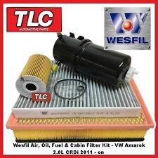 Wesfil Air Pollen Oil Fuel Filter Kit VW Amarok 2.0 Diesel CRDi 2011 - on
