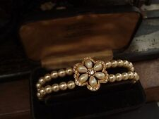 Vintage Rosita Pearl Flower Bracelet with Tiny Crystals. Adjustable Chain