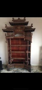 RARE CHINESE ANTIQUE HARDWOOD PAGODA CABINET WITH BONE INLAY, QING DYNASTY.