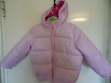 Girls Pink padded, long sleeve, hooded coat size 18-24mths Height 92cms-36inches