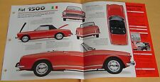 1963 Fiat 1500 Spider Convertible 4 Cylinder 1481cc IMP Info/Specs/photo 15x9