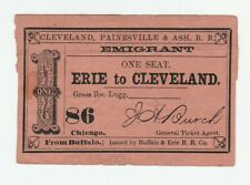Rare 1861 Emigrant Rr Ticket Cp&A - Buffalo & Erie Railroad to Cleveland Ny Oh