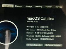 "Apple 2009 iMac 20"" AiO Computer Core 2 Duo 2GHz 4GB RAM 160GB Catalina OS A1224"