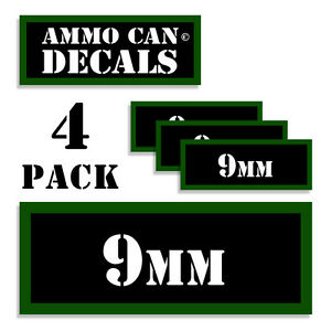 """9MM Ammo Can 4x 9MM Labels Ammunition Case 3""""x1.15"""" 9MM stickers decals 4 pack"""