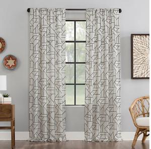 "Archaeo Jigsaw Embroidered Window Curtain Panel 50"" x 95"""