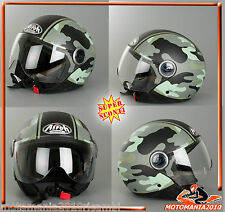 CASCO DEMI JET AIROH COMPACT CPM70 GREEN GLOSS MILITARY GREEN  TG XS