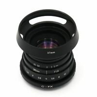 NEW Fujian 35mm F1.6 CCTV TV Movie lens + C Mount to Fuji Fujifilm X-Pro1 + Hood