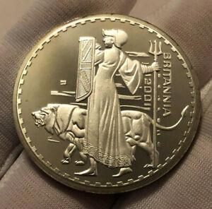 Britannia 2001 Queen Elizabeth One Ounce Silver Plated Round Commerative Coin