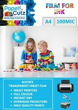 A4 100Mic OHP InkJet Printer Clear Film, Acetate, Transparent, - 50 Sheets