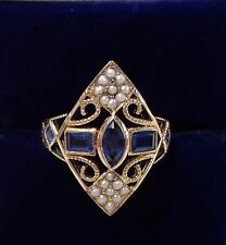 Victorian Inspired Sapphire and Seed Pearl Ring in 9ct Yellow Gold - Up Finger