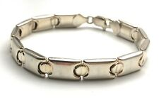 Vintage 925 Italy Sterling Silver Double Sided Love Screw Panel Bracelet