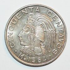 1964 CINCUENTA CENTAVOS coin snake MEXICO world foreign uncirculated BU