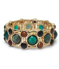Link Stretch Facet Glass Stones BRACELET Goldtone Emerald Green NEW