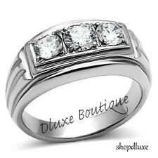 Men's Round Cut Cubic Zirconia Silver Stainless Steel 316 Ring Size 8-14