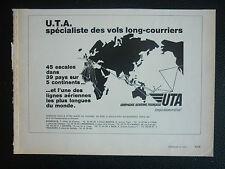2/1972 PUB COMPAGNIE AERIENNE UTA AIRLINE TRANSPORT AERIEN AFRIQUE ORIGINAL AD