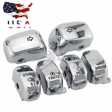 6 Pc Hand Control Switch Housing Button Cover Cap Kit for Harley 96-13 Chrome US