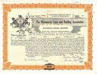 The Matamoras Building And Loan Association Stock Certificate capital Unlimited