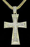 """Mens Iced 2.5"""" Cross Pendant 14k Gold Plated 30"""" Rope Chain Hip Hop Necklace"""