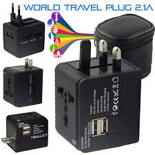 Adaptador de Viaje Internacional World Wide Universal Doble USB Port AU/UK/U.S./UE Enchufe