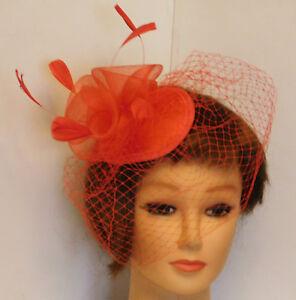 Fascinator, Red Teardrop hat veil. Birdcage veil feather fascinator hat Blusher