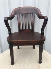 "Antique Doten-Dunton Desk Co Mahogany Bankers Arm Chair 35"" X 24"" X 25""  2 Of 2"