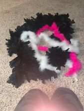 Black Feather Boa With Two Pink And White One