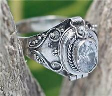 Handmade Sterling Silver .925 Bali Poison/Pill Box Ring. Choose Gem and Stone