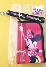 Disney Minnie Mouse Lanyard w/Detachable Coin Purse Bright Graphics on Red/Black