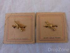 c.WWII US Army Officer's Coast Artillery Pin Back Collar Badges 14k Gold Plated