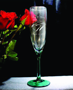 Wedding Toasting Flutes,Emerald Hex Stem, Set of 2 (Please read description)
