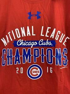 ⚾️ CHICAGO CUBS 2016 MBL Baseball Champions Under Armour Shirt Men's XL ⚾️