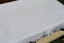 ANTIQUE FRENCH LINEN COTTON WHITE SHEET HANDMADE BOBBIN LACE AND MONOGRAM XL