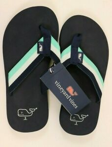 NWT VINEYARD VINES Size 3 Boy's Navy WHALE Stripe Cotton Web Sandal Flip Flop