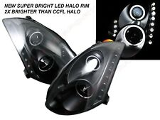 Set of Pair Black HID Ver. Headlights w/ LED Halo Stripe for 2003-2005 G35 Coupe