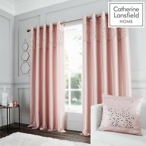 Catherine Lansfield Fully Lined Glitzy Glamour Silky Sheen Eyelet Curtains Blush