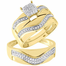 Diamond Trio Set 10K Yellow Gold Pave Square Engagement Wedding Ring 0.40 Tcw