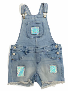 NWT JUSTICE Shortalls Sz 10 Sequins Stretch Cut-Off Light Wash