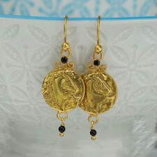 Sterling Silver Horse Coin W/ Onyx Earrings 24k Yellow Gold Plated Handcrafted